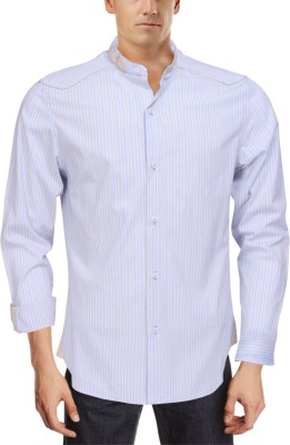 Roar and Growl Men,s Striped Casual Blue Shirt