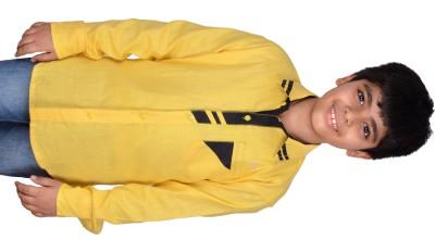 Kiaraa Boy's Solid Casual Yellow Shirt