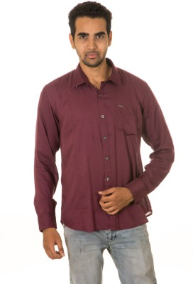 West Vogue Men's Solid Casual Maroon Shirt