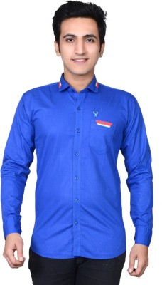 Mensfield Men's Solid Casual Blue Shirt
