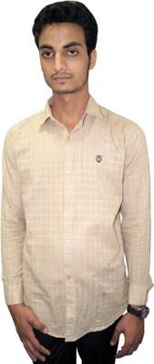 Ali Darzi Men's Checkered Casual Yellow Shirt