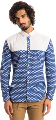 Specimen Men's Floral Print Casual Dark Blue Shirt
