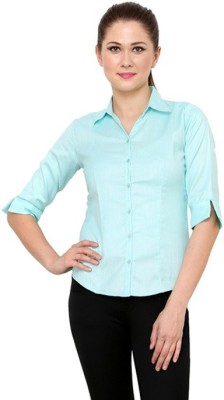 Apoyo Womens Solid Formal Light Blue Shirt