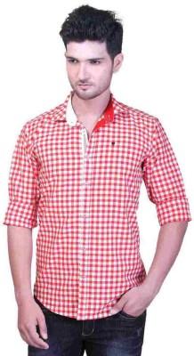 GoPlay Men's Checkered Casual Linen Red Shirt