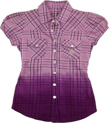 Pure Nautanki Girl's Checkered Casual Purple Shirt