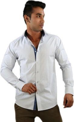 Just Differ Men's Checkered Formal White Shirt