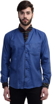 Future Plus Men's Self Design Casual Linen Blue Shirt