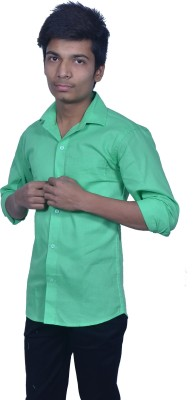 Rank Men's Solid Casual Green Shirt