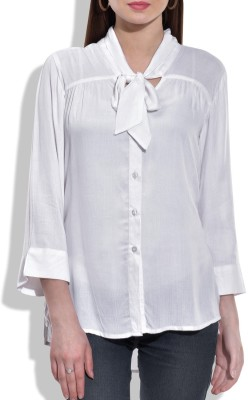 Eves Pret A Porter Women's Solid Casual White Shirt
