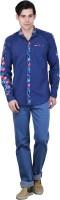 Bravezi Formal Shirts (Men's) - Bravezi Men's Floral Print Formal Dark Blue, Red Shirt