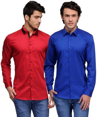 Feed Up Men's Solid Casual Red, Blue Shirt