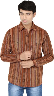 Reevolution Men's Striped Casual Brown Shirt