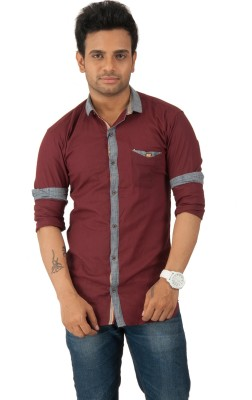 Zed One Men's Solid Casual Maroon Shirt