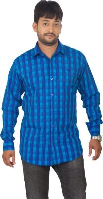 Modo Vivendi Men's Checkered Casual Blue Shirt