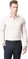 People Formal Shirts (Men's) - People Men's Striped Formal Beige Shirt