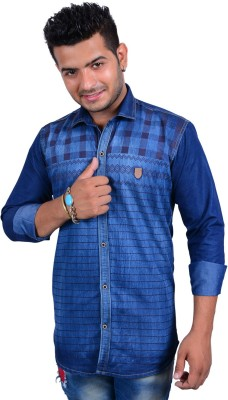 teevra Men's Printed Casual Denim Blue Shirt