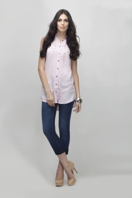 Primo Knot Women's Solid Casual Pink Shirt