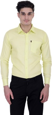 LONDON LOOKS Men's Solid Formal Yellow Shirt