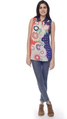 Desi Belle Women's Printed Casual Blue Shirt