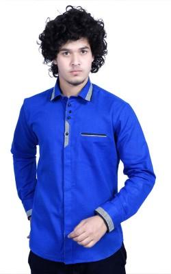 Bucci Men's Solid Festive Dark Blue Shirt