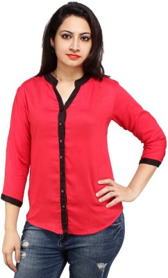 Styles Clothing Women's Solid Casual Red Shirt