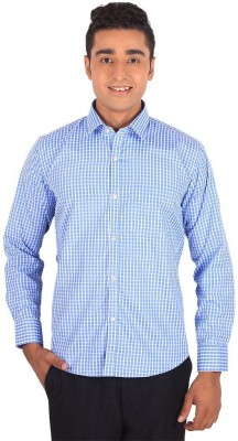 Henry Spark Men's Checkered Formal Blue Shirt