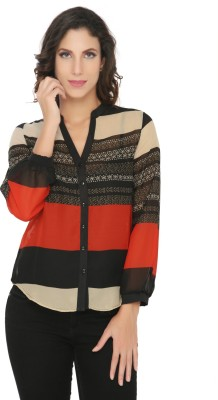 Philigree Women's Striped Casual Red Shirt