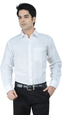 Alpha Centauri Men's Solid Formal Linen White Shirt
