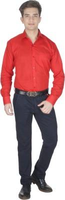 Shaurya-F Men's Solid Formal Red Shirt