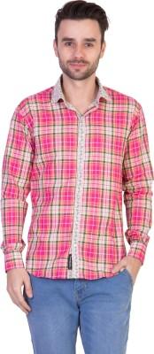 Threadikshion Men's Checkered, Printed Casual Reversible Pink, Multicolor Shirt