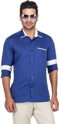 Laven Men's Solid Casual Linen Blue Shirt