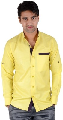 S9 Men's Solid Casual, Formal, Wedding Yellow, Black Shirt
