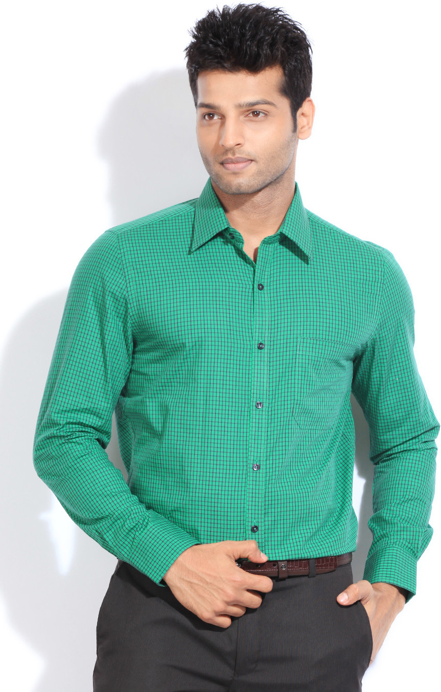 London Bridge Men's Checkered Formal Green Shirt