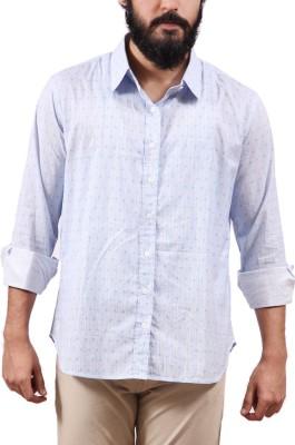 Fadjuice Men's Animal Print Casual Blue Shirt