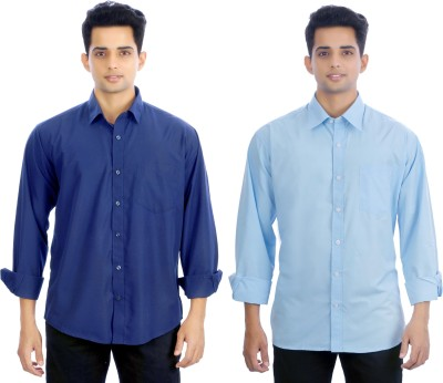Atmosphere Men's Solid Formal Blue, Light Blue Shirt