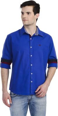 Hekar Men's Solid Casual Blue Shirt