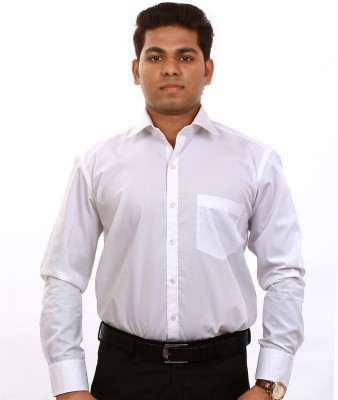 Iconic Men's Solid Formal White Shirt