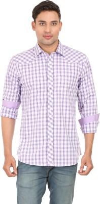 Don Vino Men's Checkered Casual Purple, White Shirt