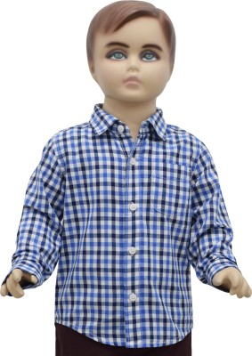 Urban Forest Boy's Checkered Casual Blue Shirt