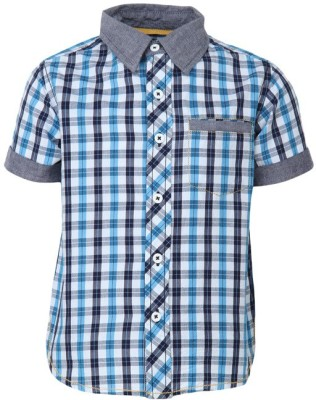Bells and Whistles Boy's Checkered Casual Blue Shirt