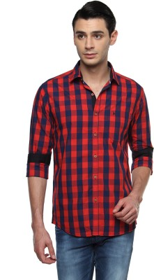 British Club Men's Checkered Casual Orange, Blue Shirt