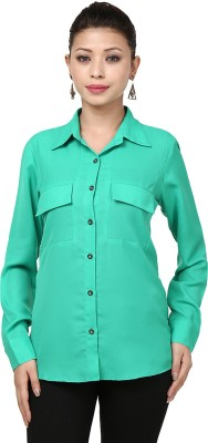Threesome Women's Solid Casual Green Shirt