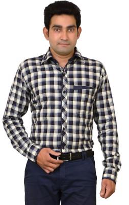Benzoni Men's Checkered Casual Dark Blue, Black Shirt