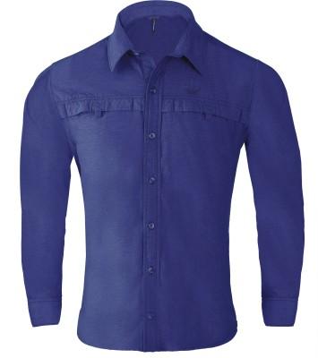 Wildcraft Men's Solid Casual Blue Shirt