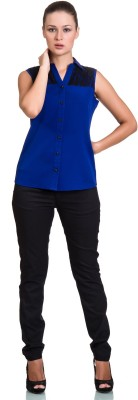 Colbrii Women,s Solid Casual Blue Shirt