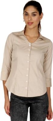 Adam n Eve Women's Solid Formal Beige Shirt