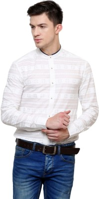 Azo Men's Printed Casual White Shirt