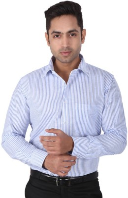 Warewell Men's Striped Formal Blue Shirt