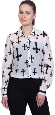 Stylestone Women's Printed Casual White, Black Shirt