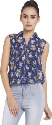 Globus Women's Floral Print Casual Blue Shirt
